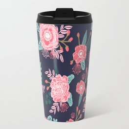 Peony floral bouquet navy pink bright happy flowers dorm college office decor must have pattern Travel Mug