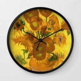 Vincent Van Gogh Fifteen Sunflowers In A Vase Wall Clock