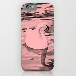 Duck in the water 1. duck ducks. swan. swans. sea. beach. pink. iPhone Case