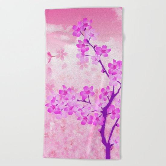 Cherry Blossom - Variation 4 Beach Towel