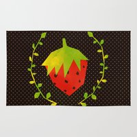 strawberry Area & Throw Rugs featuring Strawberry by Strawberringo