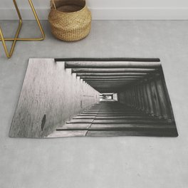 Arcade with columns in Copenhagen, architecture black and white photography Rug