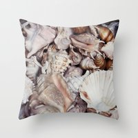 seashell Throw Pillows featuring seashell by Pink Revenge