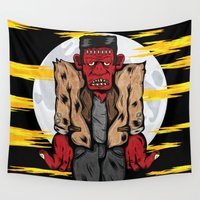 frankenstein Wall Tapestries featuring Frankenstein by Pancho the Macho