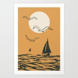 Retro sail Art Print