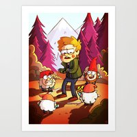gravity falls Art Prints featuring Supernatural: Gravity Falls style by rdjpwns