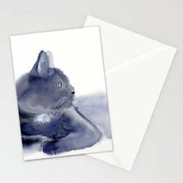 """""""The queen has arrived"""" Expressive Cat Watercolor Painting Stationery Cards"""