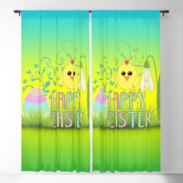 Happy Easter Egg, Chick and Snowdrop Blackout Curtain