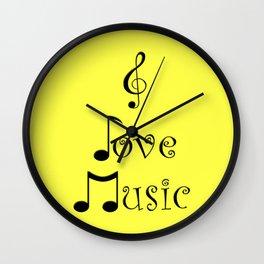 I Love Music - Yodeling Yellow Wall Clock