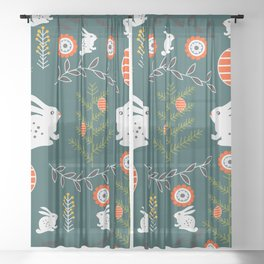 Winter holidays with bunnies Sheer Curtain