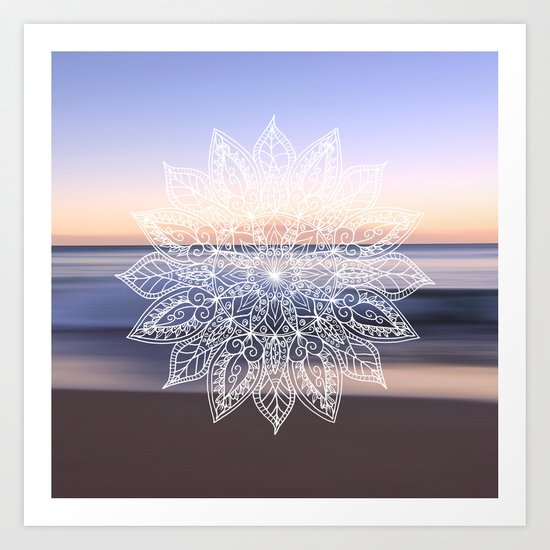 Leaf mandala - beachside Art Print