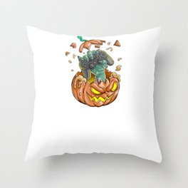 Gamer Pumpkin, It's Show Time Funny Halloween Horror Scary Throw Pillow