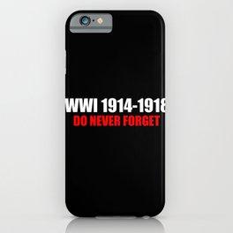 Commemoration WWI 1914-1918 iPhone Case