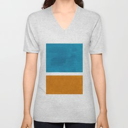 Rothko Minimalist Mid Century Modern Vintage Colorful Pop Art Colorfields Dark Teal Yellow Ochre Unisex V-Neck