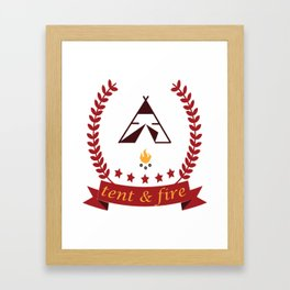 Tent and Fire Framed Art Print
