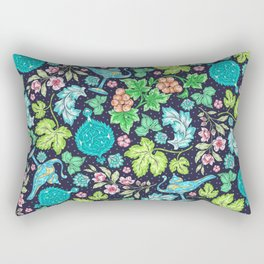 Asian-Inspired Leaf and Floral Pattern With Magical Lanterns Rectangular Pillow
