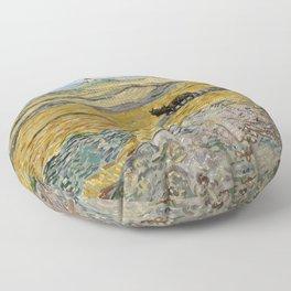 "Vincent van Gogh ""Enclosed field with ploughman"" Floor Pillow"