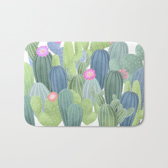 Cacti Love / Watercolor Cactus Pattern Bath Mat