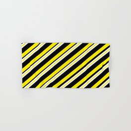 TEAM COLORS 1...double yellow,black and white. Hand & Bath Towel