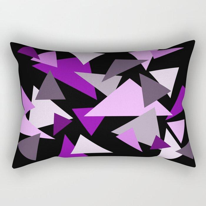 Purple Triangels on black background Rectangular Pillow