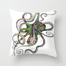 Octopsychedelia Throw Pillow