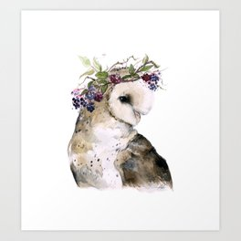 Flower Crowned Barn Owl Art Print