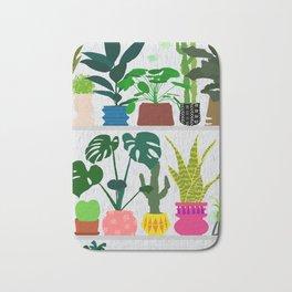 Plants on the Shelf in Gray + White Wood Bath Mat