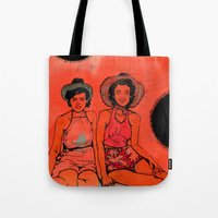 hats Tote Bags featuring Beach Hats by Meagan Alwood Karcic