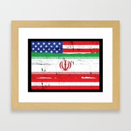 Iranian American Flag Distressed Framed Art Print