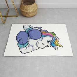 Unicorn at Boxing with Boxing gloves Rug