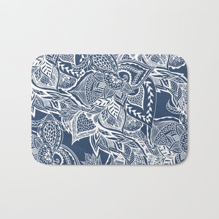 Modern navy blue peony white hand drawn floral watercolor pattern Bath Mat