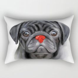 Pug with the red nose Rectangular Pillow