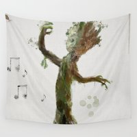 groot Wall Tapestries featuring Baby Groot by Scofield Designs