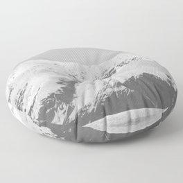 Alaska Glacier Snow Mountains Black And White Floor Pillow