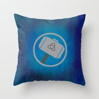 thor Throw Pillows featuring Thor by Some_Designs