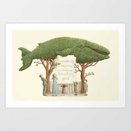 The Night Gardener - Whale Display  Art Print