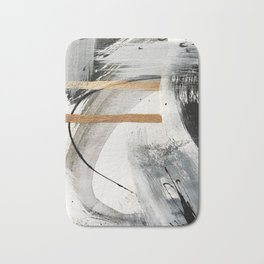 Armor [7]: a bold minimal abstract mixed media piece in gold, black and white Bath Mat