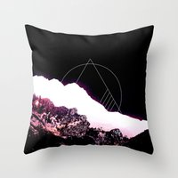 snowboarding Throw Pillows featuring Mountain Ride by Schwebewesen • Romina Lutz