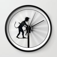 work hard Wall Clocks featuring Hard Work by siloto