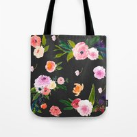 goth Tote Bags featuring Floral Goth by MY  HOME