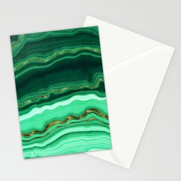 Gold And Malachite Marble Stationery Cards