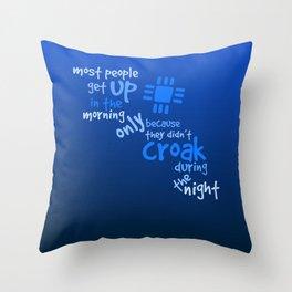 Croak-Blue Throw Pillow