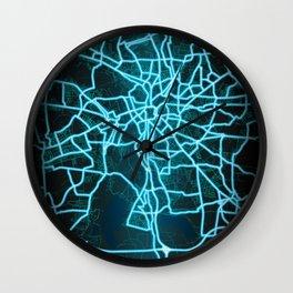 Leipzig, Germany, Blue, White, Neon, Glow, City, Map Wall Clock