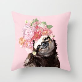 Sloth with Flower Crown Throw Pillow