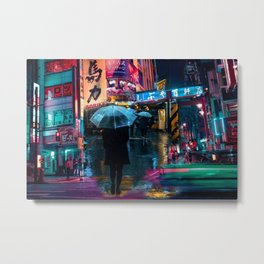 Japan street night Metal Print