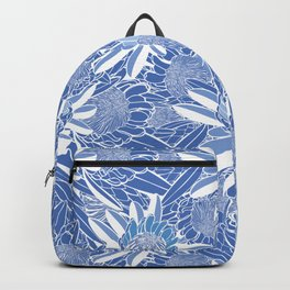 Blue and White Protea Garden Backpack