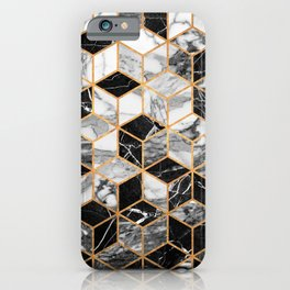 Marble Cubes - Black and White iPhone Case