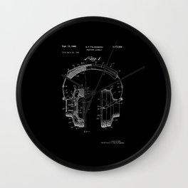 Headphones Patent - White on Black Wall Clock