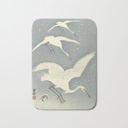 Descending egrets in snow, Ohara Koson Bath Mat