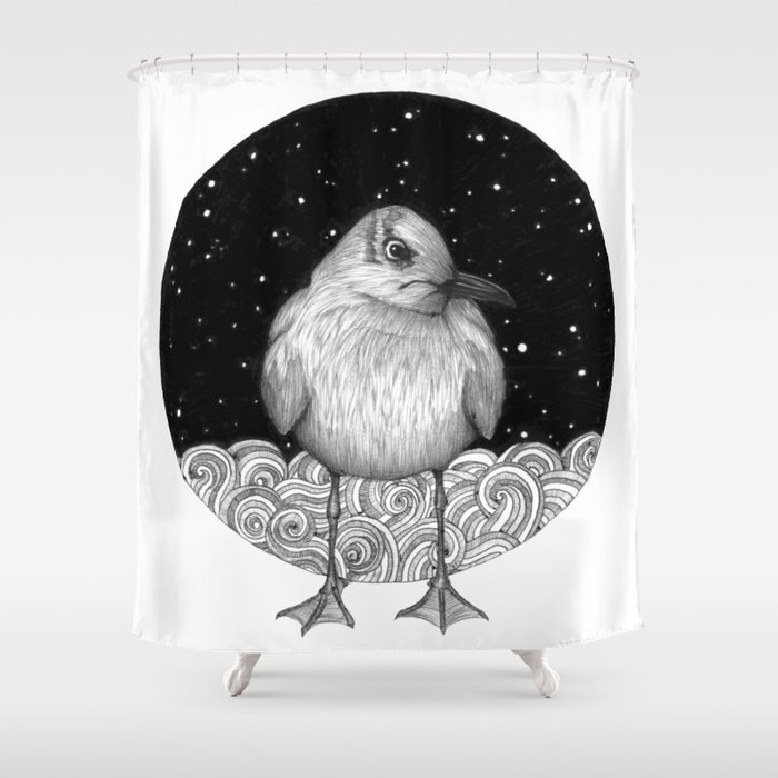 Seagull On A Starry Night Shower Curtain
